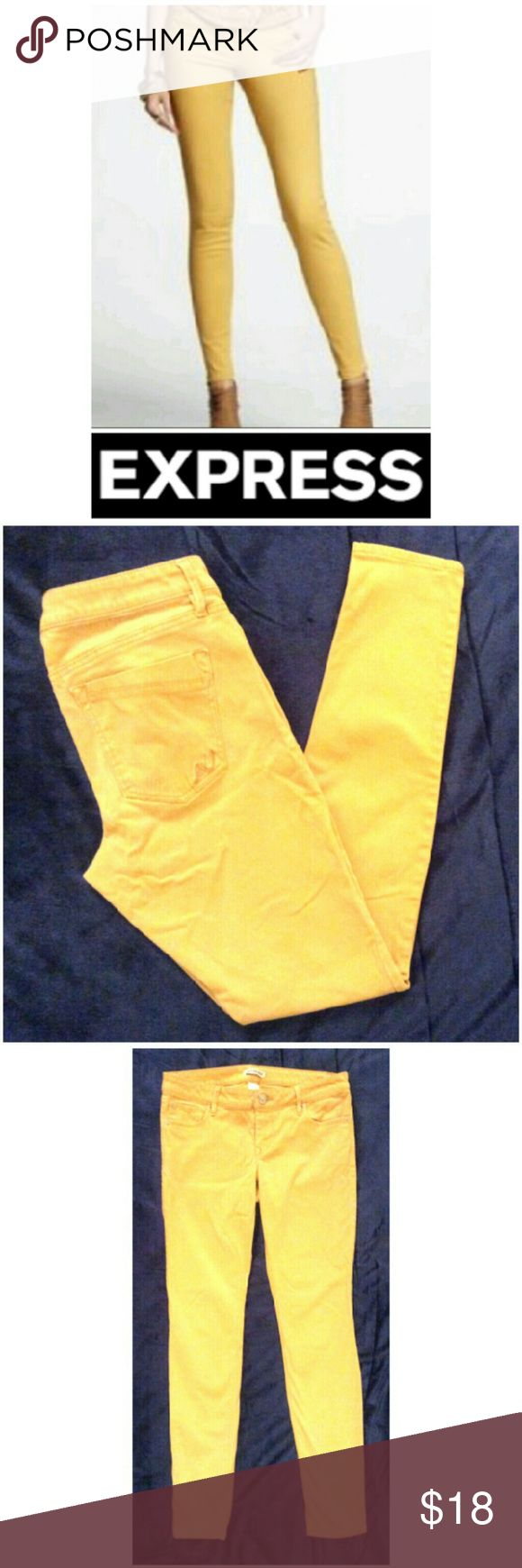 """NEW Skinny Express Mustard Yellow Jeans These gorgeous Express skinny pants are perfect for any occasion! Light mustard yellow cotton material with 3% spandex for stretch fit. Traditional 5 pocket style, skinny leg, jeggings comfort fit. Size 6,  29.5"""" inseam. Dress up or down with boots and sweaters, heels and blazers...possibilities are endless! NWOT, UNUSED, NO DAMAGES. Grab yours for less and look chic in Express! Express Jeans Skinny"""