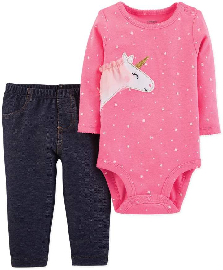 5c063c3bc carter's 2-Piece Unicorn Bodysuit and Pant Set in Pink #cute #embroidered#unicorn