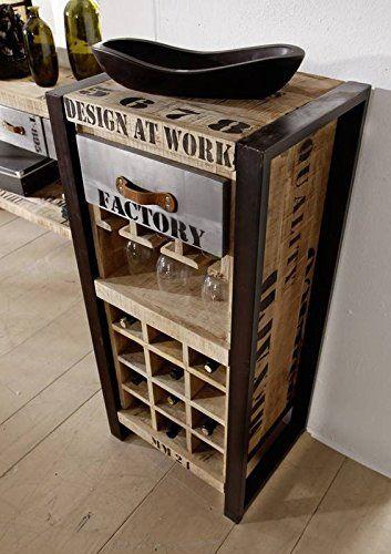 Botellero hierro madera maciza de madera mango macizo industrial-Stil maciza muebles diseño factory #135: Amazon.es: Hogar