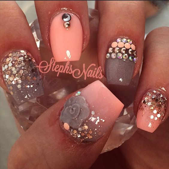 coral.quenalbertini: Coral Floral Nails by Stephsnails   Websta