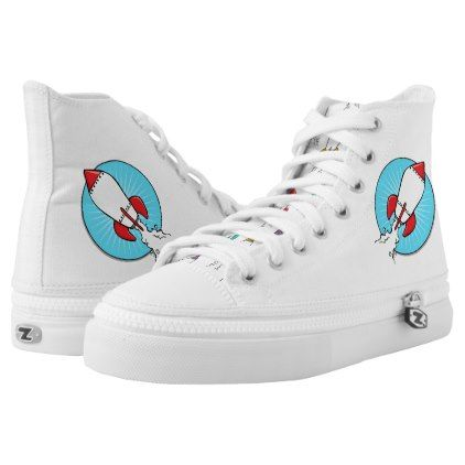 Kids  Rocket Ship Design High-Top Sneakers - diy cyo personalize design idea new special custom