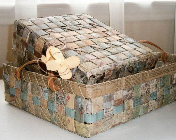 Upcycled Woven Paper Tray Basket Natural от BlueTangDesigns