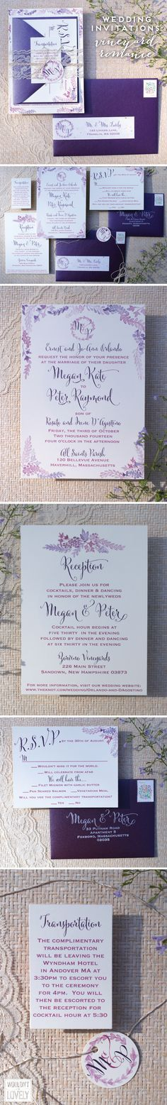 Romantic Vineyard wedding invitations, hand painted watercolor grapes flowers and vines, purple and cream and gold wedding invites, lace invite suite, Wouldn't it be Lovely