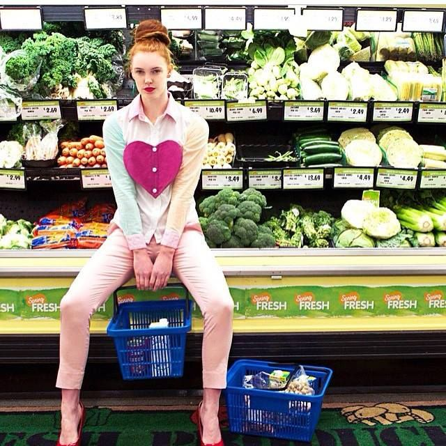 Eat yo greens! @rhi_morgs for @ellementsmagazine @marissaaldenphoto wearing Visca versa top! #wndlnd #groceries #supermarket #shopping #fashion #photography