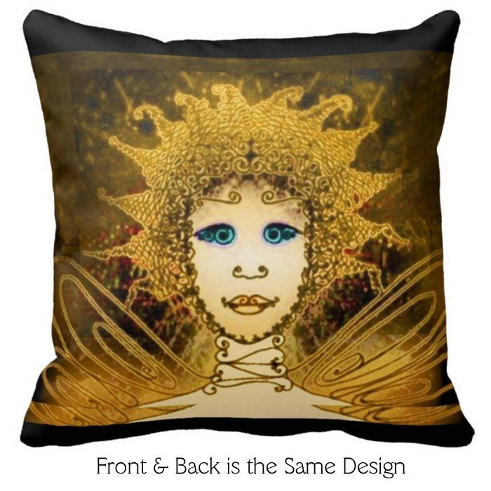 Square Pillow with Golden Art Déco Style Fairy with Black Accents