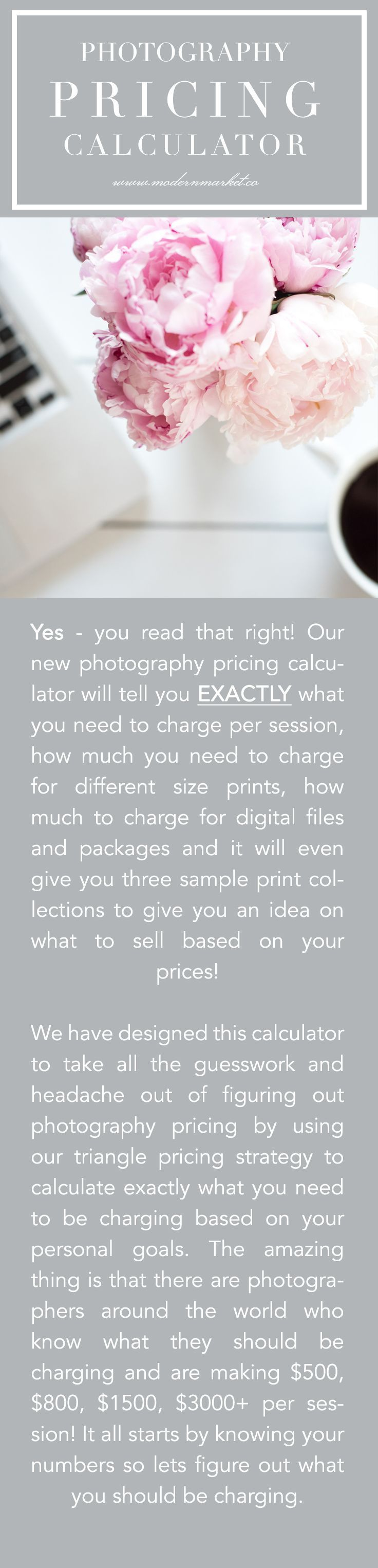 PHOTOGRAPHY PRICING CALCULATOR - It Calculates Everything For You Instantly!   The pricing calculator is amazing!!! It is so quick and super easy to use and it's amazing to see how things change just with a little adjustment. Going through the calculator I realized that I'm not charging enough for all my packages (close but not enough)! It's very eye opening. And if I want to change my prices, EASY!!!! Just input the details in the calculator and in minutes you have the perfect results!