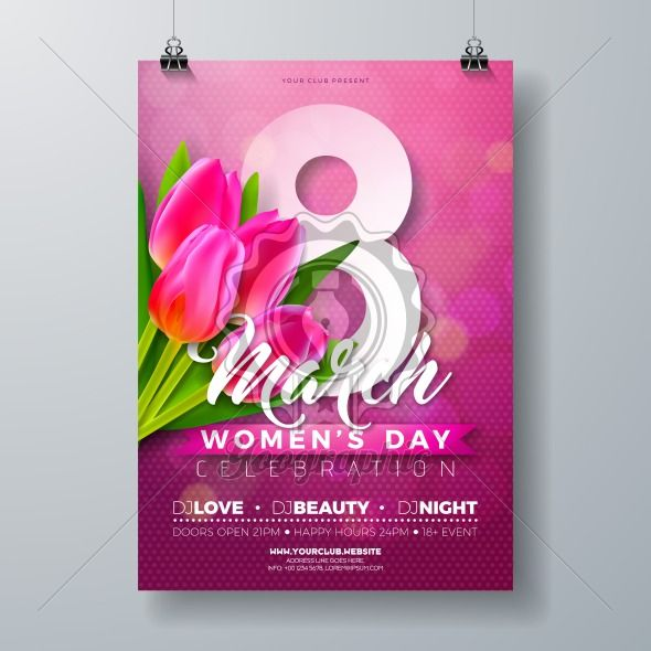 Women's Day Party Flyer Illustration with Tulip Flower Bouquet and 8 March Typography Letter on Pink Background. 8 March Female Holiday Design for Celebration Poster, Banner or Invitation. - Royalty Free Vector Illustration