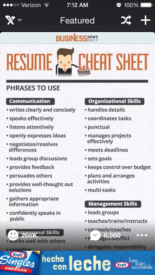 15 best Resume images on Pinterest High school resume, Job - resume cheat sheet