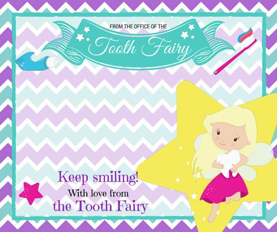 This cute Tooth Fairy Kit comes emailed as a pdf, ready for you to print at home. It contains:  * A letter from the Tooth Fairy * A certificate * A