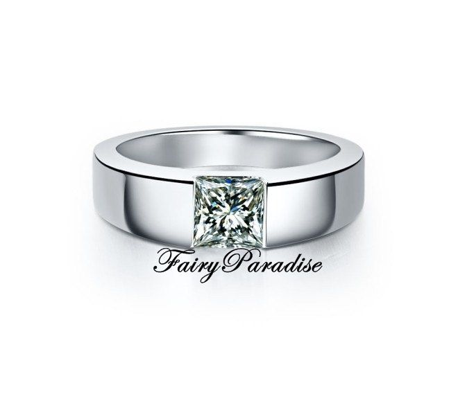 Mens+1+Ct+Princess+Cut+lab+made+Diamond+not+CZ+by+FairyParadise,+$89.00
