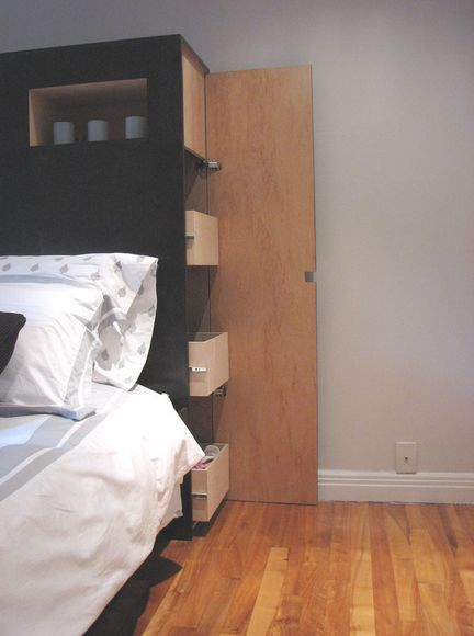 Wonder if move bed forward tad....use space behind for guest clothes. Put craft stuff on opposite wall?