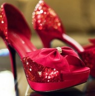 Red sparkle bow shoes