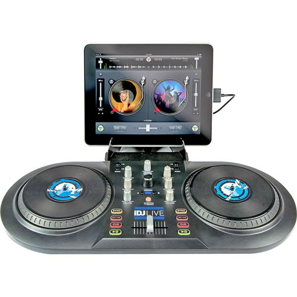 NUMARK DJ CONTROLLER FOR IPADDJ parties of all sizes with compatible iPad, iPod touch or iPhone Features a familiar layout with 2 touch sensitive platters and a 2-channel mixer Plug-and-play operation with iOS Core MIDI DJ software Perfect for beginners and seasoned pros alike Large, scratch wheels for natural scratch feel