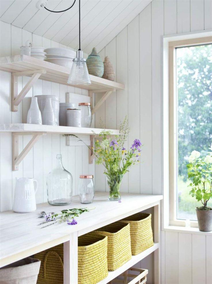Fin förvaring. Hyllorna och bänkskivan är ett integrerat tillval till huset. Hyllor och konsoler i massivt vitpigmenterat trä och bänkskiva i vitvaxad furulamellskiva. Gul korg från Rice, 395 kronor, Room. Glasburk med kopparlock, 79 kronor, Olson. Vas, 15 kronor, Ikea. Thomas Sandells A-lampa, 999 kronor, Designonline.se. Övrigt privat.