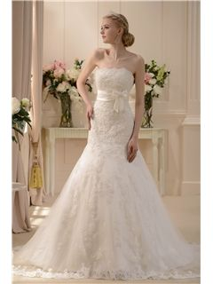 $ 162.69 Pretty Slight Trumpet/Mermaid Strapless Floor-length Chapel Wedding Dress
