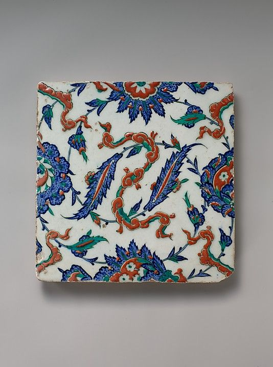 Tile with Floral and Cloud-band  Tile Date: ca. 1578   Turkey, Iznik  Stonepaste; polychrome painted under transparent glaze Dimensions: H. 9 13/16 in. (24.9 cm) W. 9 7/8 in. (25.1 cm) D. 11/16 in. (1.7 cm)