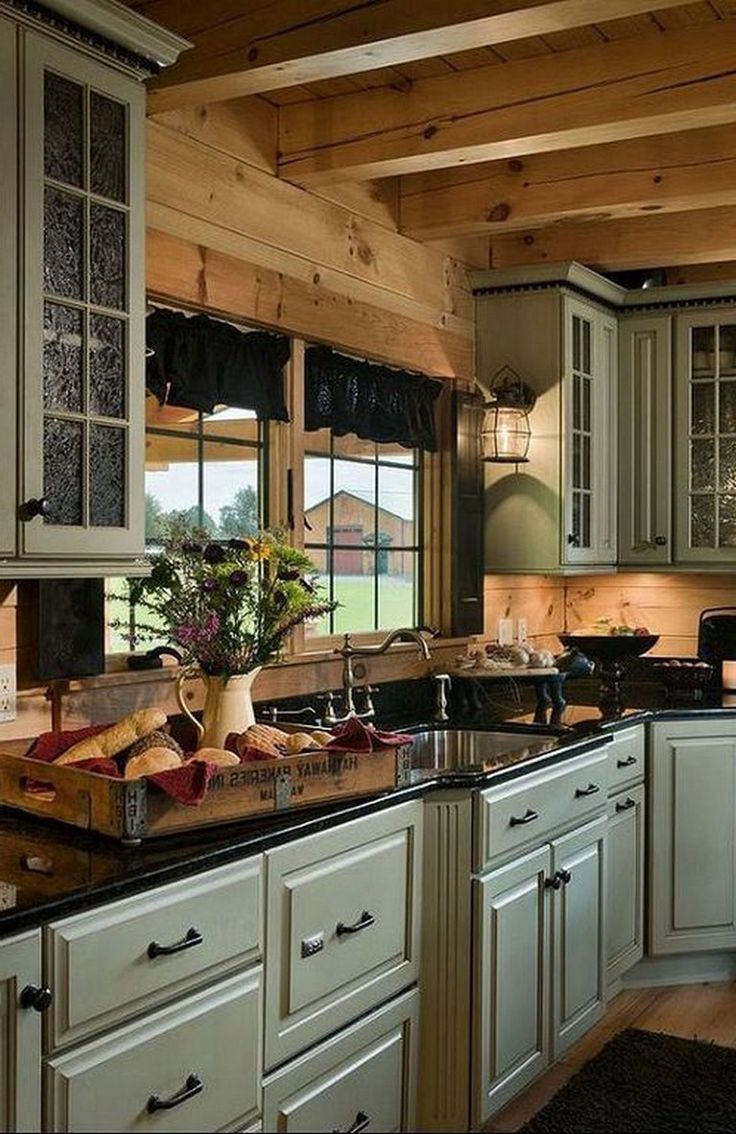 42 fabulous vintage kitchen cabinet designs with rustic style with images log cabin on kitchen cabinets design id=85358