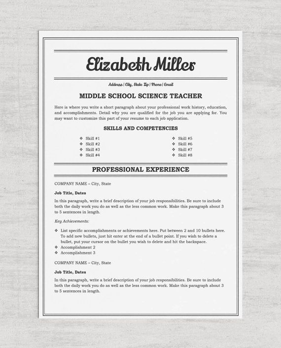 78 Best images about Resume Templates on Pinterest Teacher - resume in microsoft word format