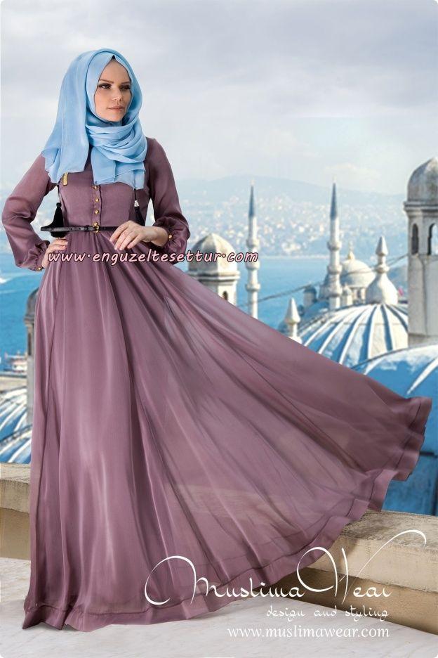 muslima wear 2014-2015 koleksiyonu iç göstermeyen uzun kapalı tesettür elbise modelleri 003