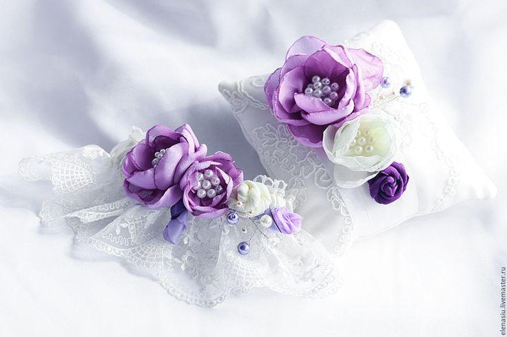 """Купить Подвязка """"Сиреневые цветы"""" с кружевом - сиреневая свадьба, сиреневая…"""