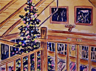 Christmas at the Cabin Watercolour and crayon ©2012 Charlene Brown, 1150 Words