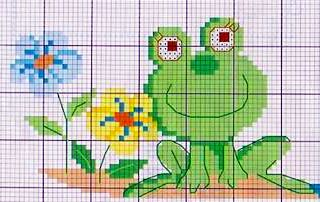 rana tra i fiori - punto croce - cross Stitch - Kreuzstich - Punto de Cruz
