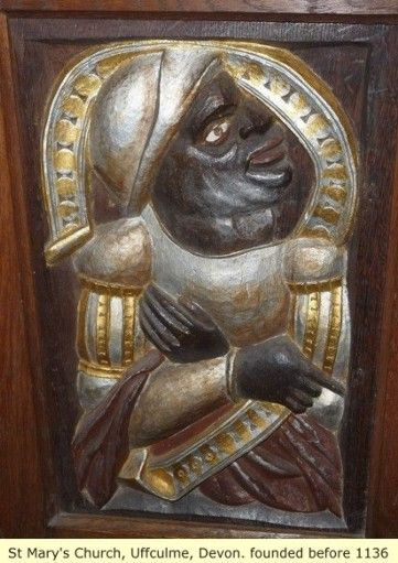 A Moor depicted on a door of St. Mary's Church, Devon, England. The church was founded before 1136AD.