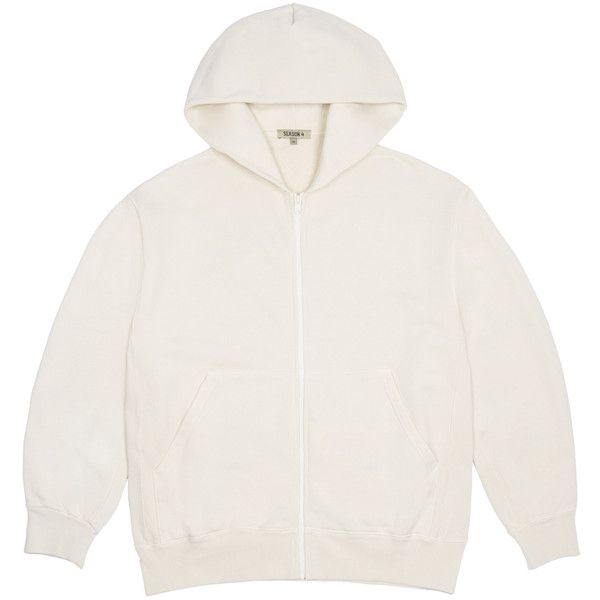 Yeezy Boxy Fit Zip Up Hoodie ($350) ❤ liked on Polyvore featuring tops, hoodies, brown, hooded zip up sweatshirt, white boxy top, zip up hoodies, white zip up hoodies and white cotton tops