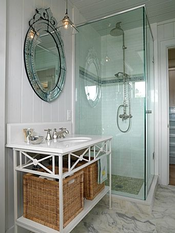 small bath w/ a small shower but oh so cool. living in a 1955 home, just moving out of a 1942 home, this would be a great way to add a second small bath. hmmmmm.