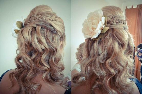 super cool. minus the big flower.: Hair Ideas, Hairstyles, Half Up, Hair Styles, Wedding Ideas, Weddings, Wedding Hairs, Beauty