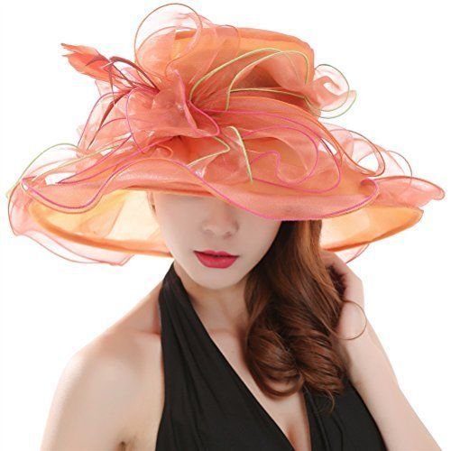 Saferin® Women Kentucky Derby Church Dress Organza Hat Feather Wide Brim Flat #NotApplicable #WideBrim