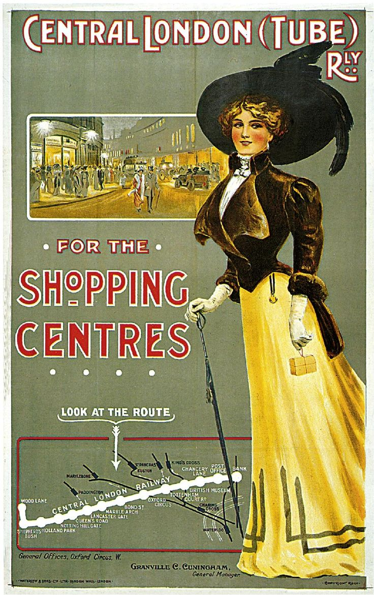 1908 Central London (Tube) Railway Travel Advertisement Art Picture Poster