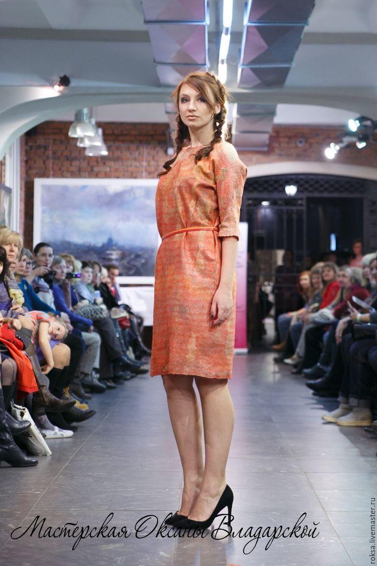 """Купить Платье нуновойлок """"Красная осень"""" - платье на каждый день, готовое платье, готовое изделие"""