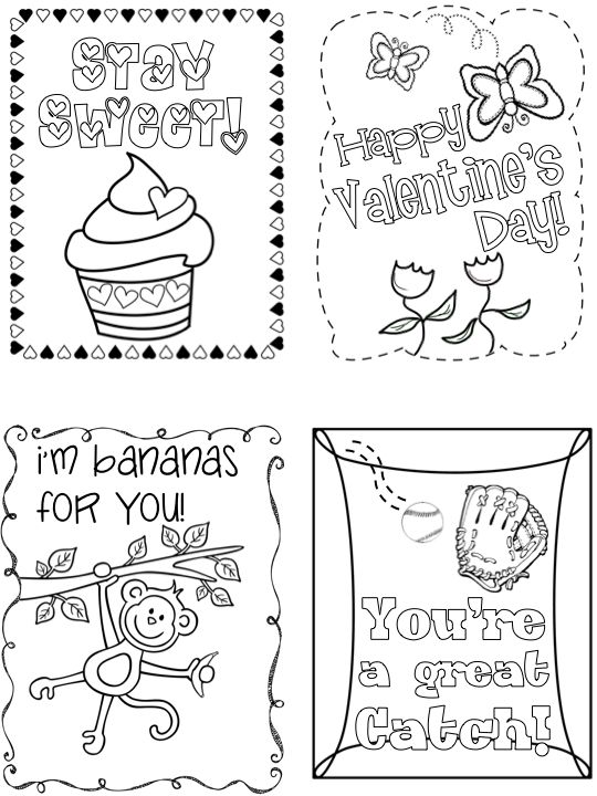 Black And White Kid Valentine Cards For Classmates