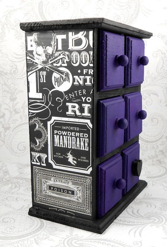 Black and Purple Halloween Inspired Stash Jewelry Box. Oh! Husband should totally get me this for my birthday...