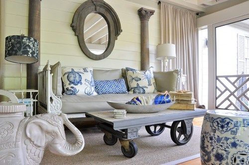 daybed delights… practical and versatile: Dream Porches, Coffee Tables, Living Rooms, Blue Color, Eclectic Porches, Coff Tables, Patio Tables, Treasure Hunting, Modern Interiors