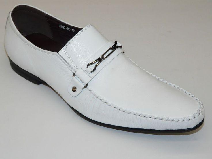 White Leather Men's Dress Shoes | Mens Zota Unique Leather Shoes European Casual Dressy G892 80 White ...