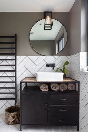 monochrome bathroom with upcycled vanity unit, bowl sink