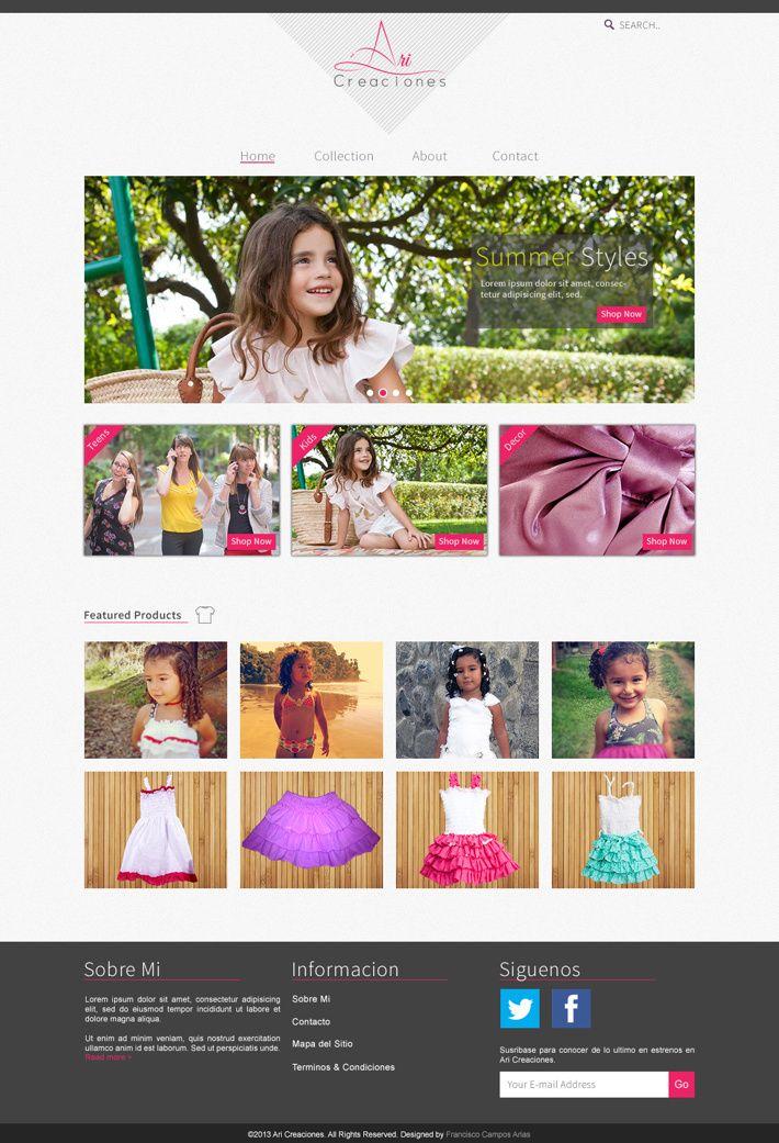 Ari Creaciones Website - Clothing and accessories. Design by Francisco Campos