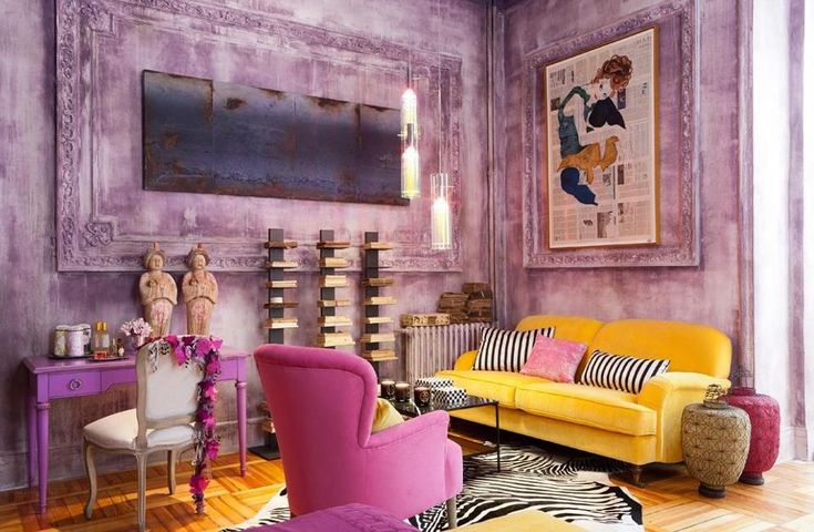 Distressed lavender walls and great art