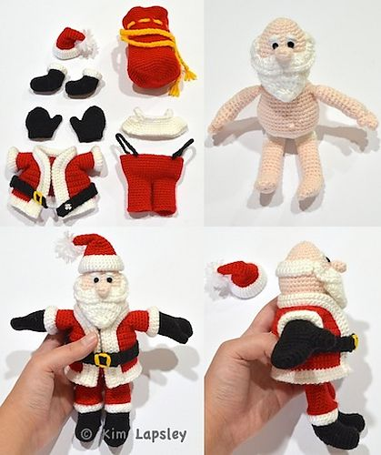 This crochet pattern is for a Santa Claus doll and his toy sack. All of Santa's clothes, including his mittens and boots, are removable. The pattern is 24 pages long and the instructions are detailed and fully written out using US crochet terminology. Over 70 instructional photos are included.