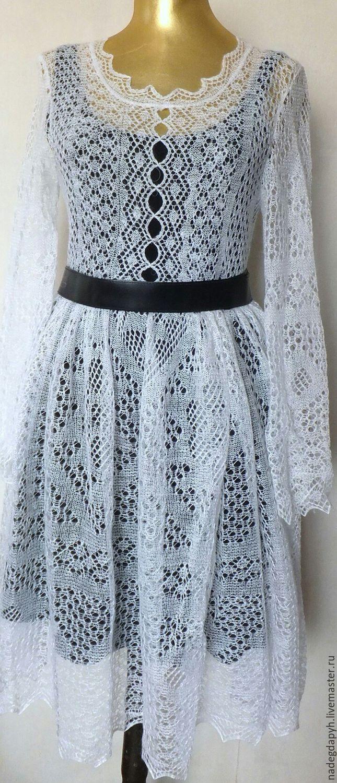 Купить 135 платье вязаное белое пуховое , одежда - белый, платье, Платье нарядное