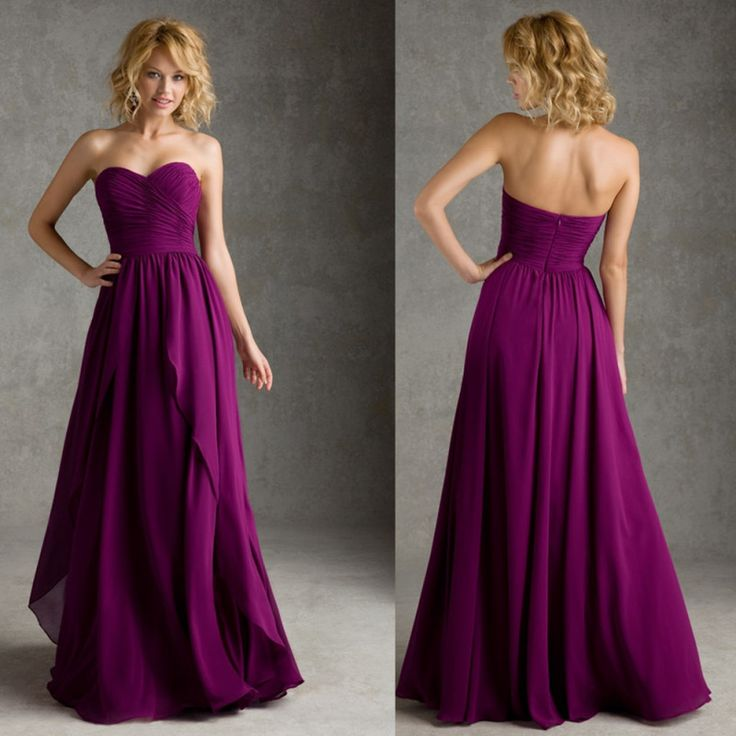 Elegant Floor-Length Chiffon Ruching Sweetheart A-Line Purple Bridesmaid Dress - Uniqistic.com