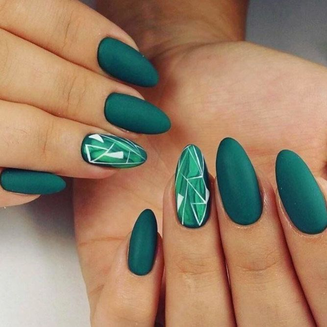 Joyous Emerald Green Nails To Intrigue Naildesignsjournal Com Green Nail Designs Emerald Nails Almond Acrylic Nails