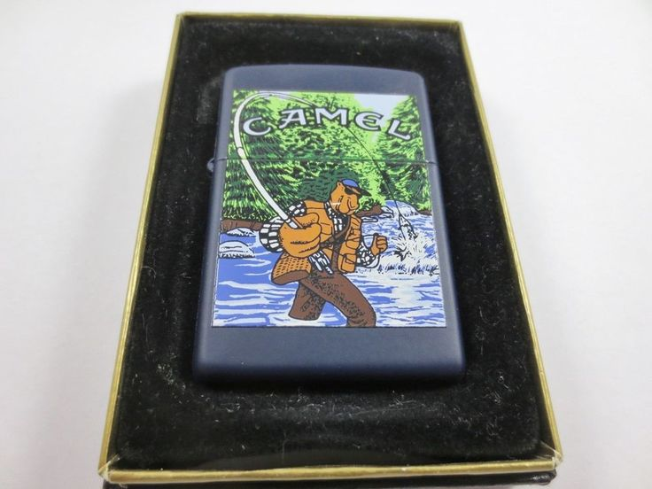 ZIPPO USA CAMEL Cigarette Lighter New Old Stock w Case #652 GECKO FISHING