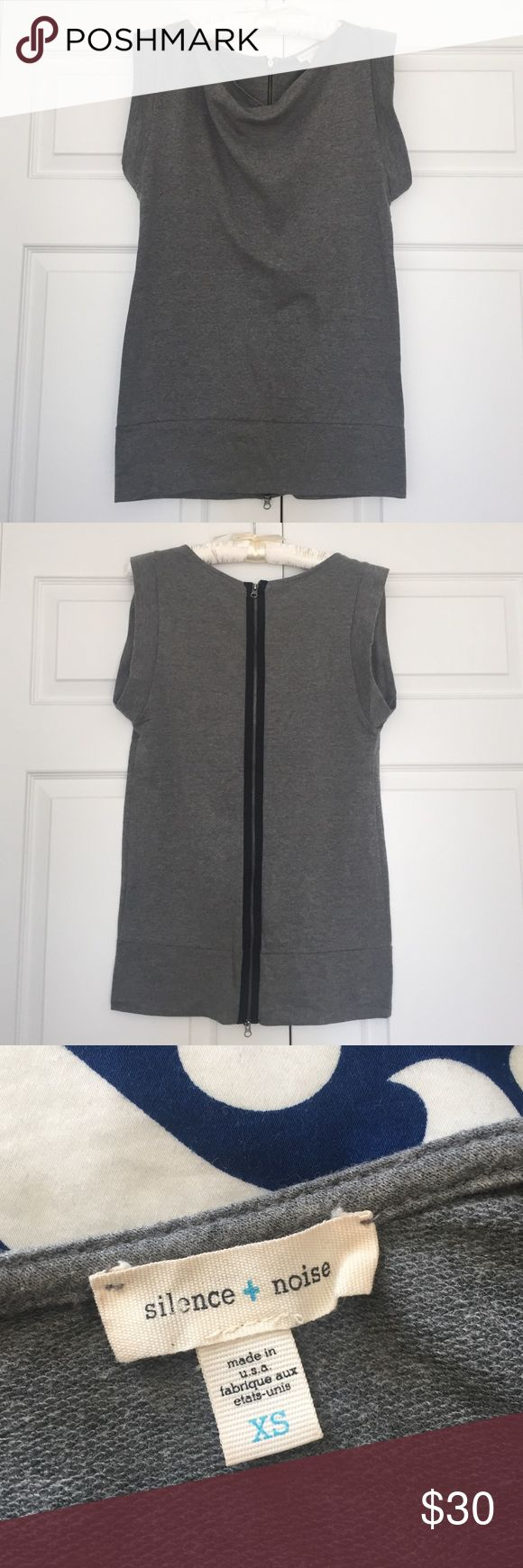 UO Silence and Noise Grey Tunic w Zipper detail Cute heather grey tunic with Zipper detail in the back. Super comfortable and easy to dress up or down a pair of leggings and heels silence + noise Tops Tunics