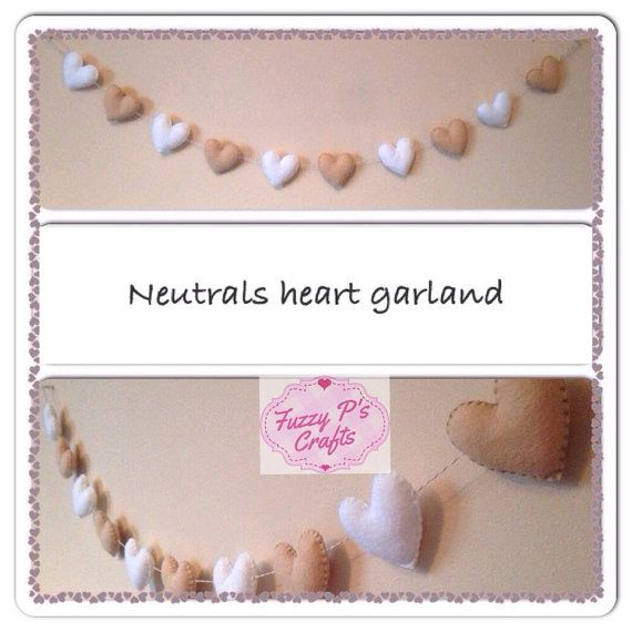 Neutral felt heart garland nursery décor, hanging handmade garland, Neutral heart bunting, Neutral decor bunting, baby shower gift, wall art