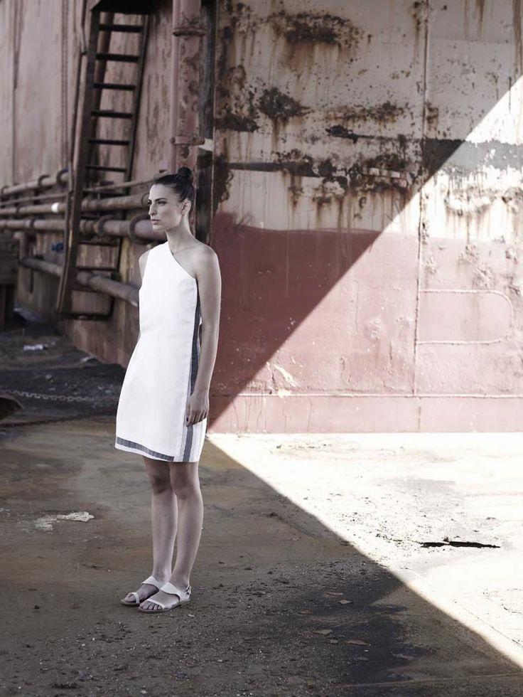 THIRA one shoulder wrap mini dress in ivory silk-cotton