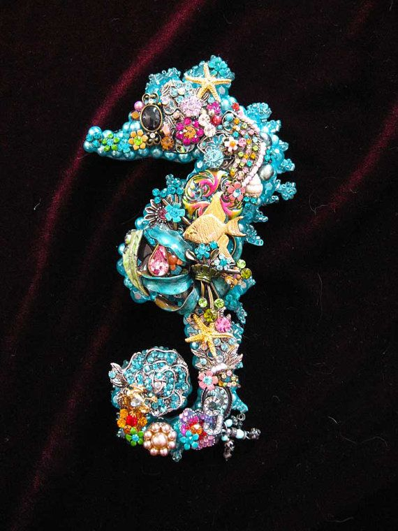 Vintage Jewelry Seahorse Collage Sculpture by ArtCreationsByCJ