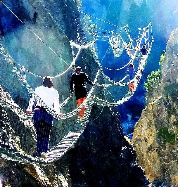 The Tibetan Bridge in Claviere, Piedmont, Italy. one of the most dangerous bridges on the world.!!